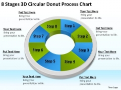 8 Stages 3d Circular Donut Process Chart How To Right Business Plan PowerPoint Templates
