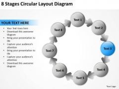 8 Stages Circular Layout Diagram Business Plan Outline PowerPoint Templates