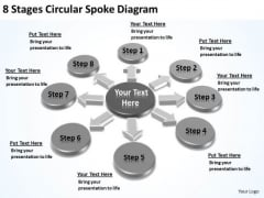 8 Stages Circular Spoke Diagram Elements Business Plan PowerPoint Templates