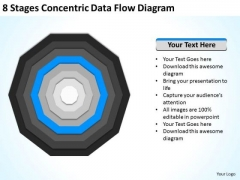 8 Stages Concentric Data Flow Diagram Ppt Business Plan Marketing PowerPoint Slides
