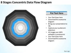 8 Stages Concentric Data Flow Diagram Ppt Business Plan Template PowerPoint Slides