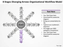 8 Stages Diverging Arrows Organizational Workflow Model Charts And PowerPoint Slides