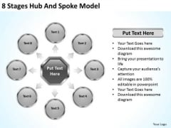 8 Stages Hub And Spoke Model Small Business Plan Template PowerPoint Templates