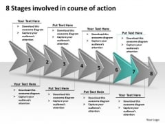 8 Stages Involved Course Of Action Free Schematic PowerPoint Templates