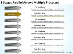 8 Stages Parallel Arrows Multiple Processes Business Proposals Examples PowerPoint Slides