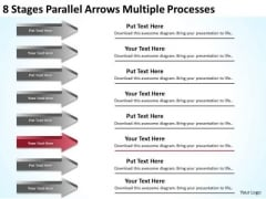 8 Stages Parallel Arrows Multiple Processes Sales Plan PowerPoint Slides