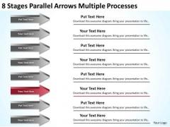 8 Stages Parallel Arrows Multiple Processes Sales Plan PowerPoint Slides