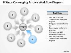 8 Steps Converging Arrows Workflow Diagram Process Software PowerPoint Slides