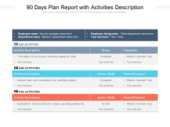 90 Days Plan Report With Activities Description Ppt PowerPoint Presentation Styles Skills PDF