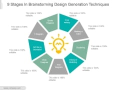 9 Stages In Brainstorming Design Generation Techniques Ppt PowerPoint Presentation Clipart