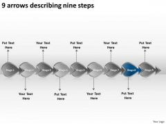 9 Arrows Describing Nine Steps Business Create Flowchart PowerPoint Slides