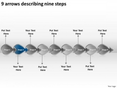 9 Arrows Describing Nine Steps Business Creating Flowchart PowerPoint Templates