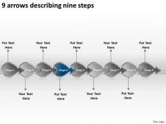 9 Arrows Describing Nine Steps Business Free Flow Chart Maker PowerPoint Slides