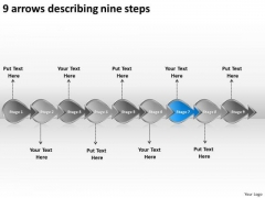 9 Arrows Describing Nine Steps Create Flowchart PowerPoint Slides