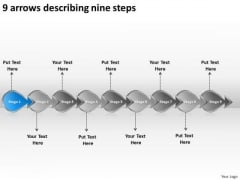 9 Arrows Describing Nine Steps Creating Flowchart PowerPoint Templates