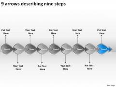 9 Arrows Describing Nine Steps Ppt Flow Chart Creator Online PowerPoint Templates
