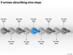 9 Arrows Describing Nine Steps Workflow Management Slides PowerPoint Templates