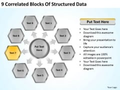 9 Correlated Blocks Of Structured Data Business Financial Planning PowerPoint Templates