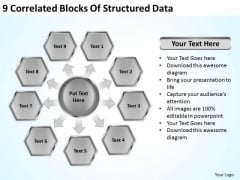 9 Correlated Blocks Of Structured Data Outline Business Plan PowerPoint Slides