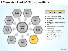 9 Correlated Blocks Of Structured Data Ppt Sales Business Plan Outline PowerPoint Templates