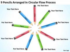 9 Pencils Arranged In Circular Flow Process Ppt Business Plan Templates PowerPoint