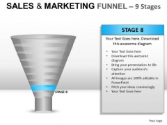 9 Stage Conversion Funnel PowerPoint Slides And Ppt Diagram Templates