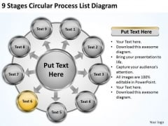 9 Stages Circular Process List Diagram Business Plans Examples Free PowerPoint Slides