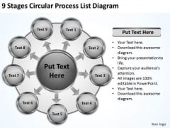 9 Stages Circular Process List Diagram It Business Plan PowerPoint Templates