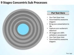 9 Stages Concentric Sub Processes Business Plan Generator PowerPoint Slides