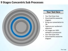 9 Stages Concentric Sub Processes Business Plans For PowerPoint Templates