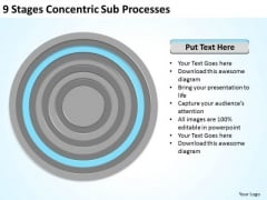 9 Stages Concentric Sub Processes Online Business Plan PowerPoint Slides