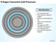 9 Stages Concentric Sub Processes Ppt Business Plan PowerPoint Slides