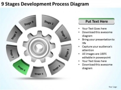 9 Stages Development Process Diagram Template Business Plans PowerPoint Templates