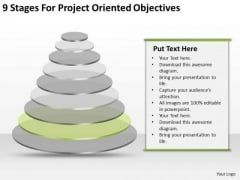 9 Stages For Project Oriented Objectives Business Plan Excel PowerPoint Slides
