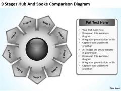 9 Stages Hub And Spoke Comparison Diagram Business Plan Models PowerPoint Slides