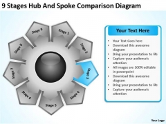 9 Stages Hub And Spoke Comparison Diagram Plan Business PowerPoint Templates