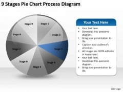 9 Stages Pie Chart Process Diagram Business Plan PowerPoint Slides