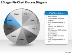 9 Stages Pie Chart Process Diagram Business Plan PowerPoint Templates