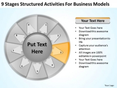 9 Stages Structured Activities For Business Models Plans PowerPoint Templates