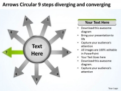 9 Steps Diverging And Converging Relative Circular Flow Arrow Network PowerPoint Templates