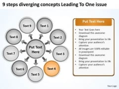 9 Steps Diverging Concepts Leading To One Issue Arrows Chart Software PowerPoint Slides