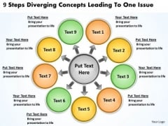 9 Steps Diverging Concepts Leading To One Issue Circular Flow Network PowerPoint Slides