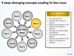 9 Steps Diverging Concepts Leading To One Issue Circular Network PowerPoint Templates