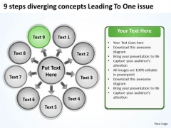 9 Steps Diverging Concepts Leading To One Issue Cycle Chart PowerPoint Templates