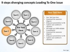 9 Steps Diverging Concepts Leading To One Issue Cycle Motion Diagram PowerPoint Slides