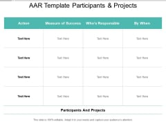 AAR Template Participants And Projects Ppt PowerPoint Presentation Model Maker