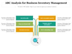 ABC Analysis For Business Inventory Management Ppt PowerPoint Presentation Summary Portfolio PDF
