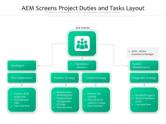 AEM Screens Project Duties And Tasks Layout Ppt PowerPoint Presentation Rules PDF