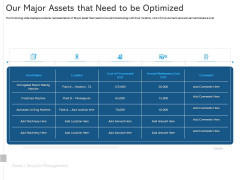 ALM Optimizing The Profit Generated By Your Assets Our Major Assets That Need To Be Optimized Demonstration PDF
