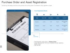 ALM Optimizing The Profit Generated By Your Assets Purchase Order And Asset Registration Template PDF